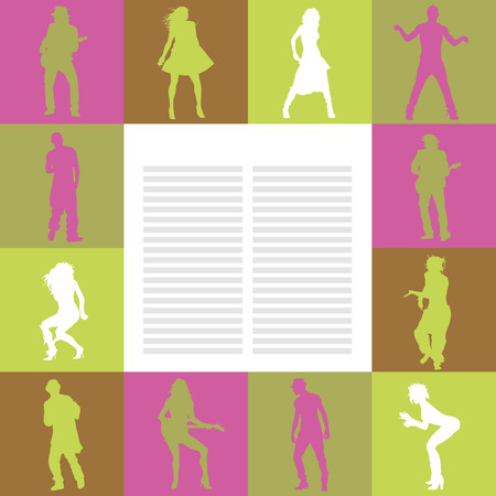 rnb: Vector card with dancing people silhouettes