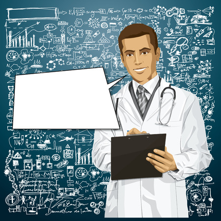 researches: Vector doctor man writing something with marker on clipboard