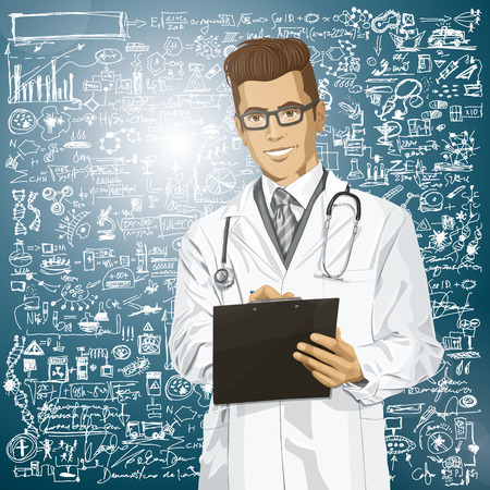 Vector hipster doctor man writing something with marker on clipboard Stock Vector - 26968889