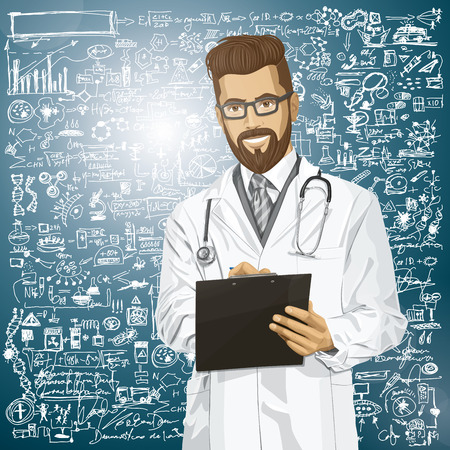 Vector hipster doctor man writing something with marker on clipboard Stock Vector - 26968916