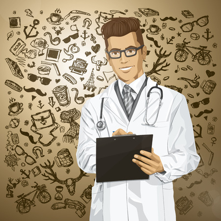 Vector hipster doctor man writing something with marker on clipboard Stock Vector - 26968917