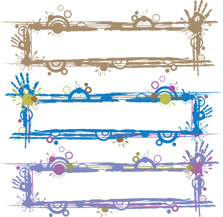 Vector colored abstract frames with paint and blots Vector