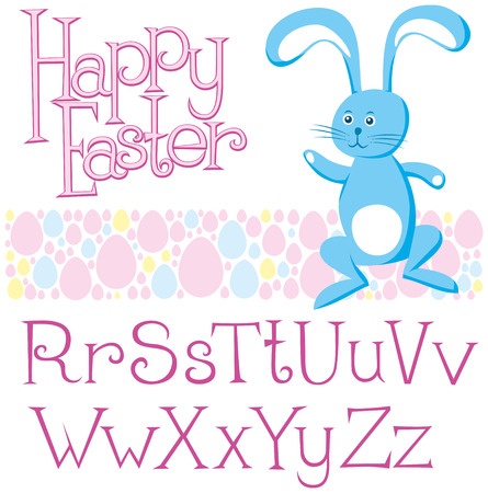 Vector Easter card with alphabet, eggs of different color, rabbit Vector