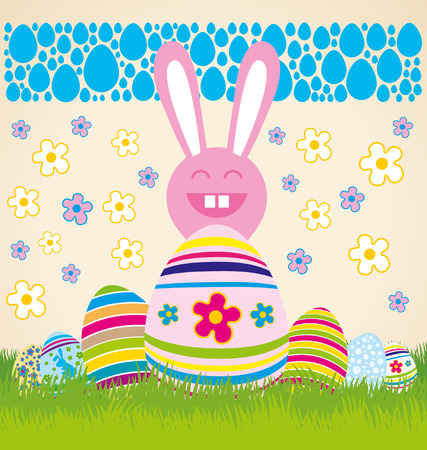 Vector Easter card with eggs of different color, rabbit Vector