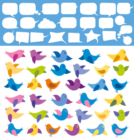 chirp: Vector card with birds and speech bubbles Illustration