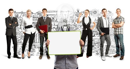 Idea concept. Lamp Head and Business team  Stock Photo - 27718388