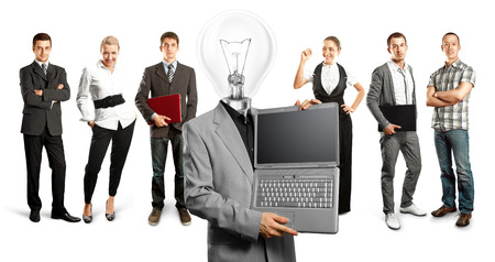 Idea concept. Lamp Head and Business team Stock Photo - 27718319
