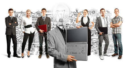 Idea concept. Lamp Head and Business team Stock Photo - 27718389