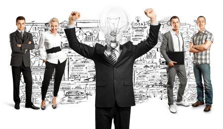 Idea concept. Lamp Head and Business team Stock Photo - 27718343