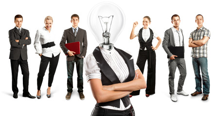 Idea concept. Lamp Head and Business team  Stock Photo - 27718349
