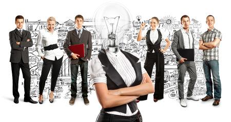 Idea concept. Lamp Head and Business team Stock Photo - 27718360
