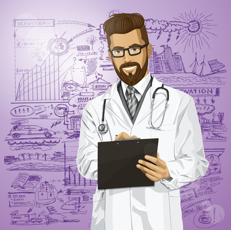 hipster doctor man writing something with marker on clipboard Stock Vector - 28424905