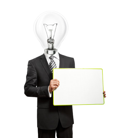 Lamp Head business man holding empty write board in his hands photo
