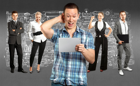Business team against different backgrounds Stock Photo - 29394010