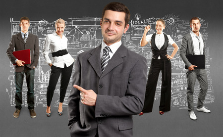 Business team against different backgrounds Stock Photo - 29394014