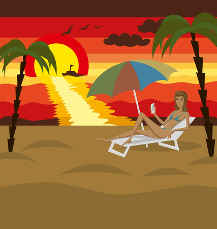 sea landscape: Vector outdoors sea landscape with woman and sun Illustration
