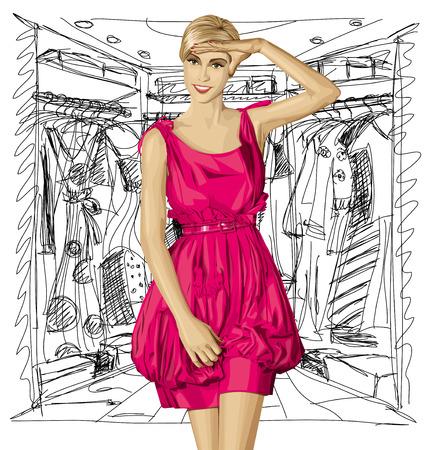 surprising:  surprised blonde in pink dress Illustration