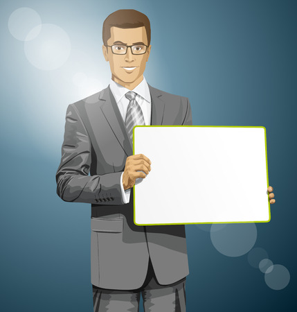 Business man holding empty write board in his hands Stock Vector - 29390201