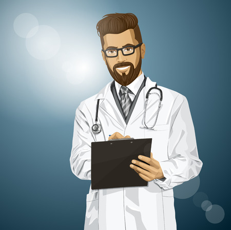researches: hipster doctor man writing something with marker on clipboard