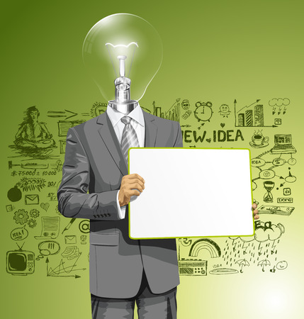 lamp head business man holding empty write board in his hands Stock Vector - 29390207
