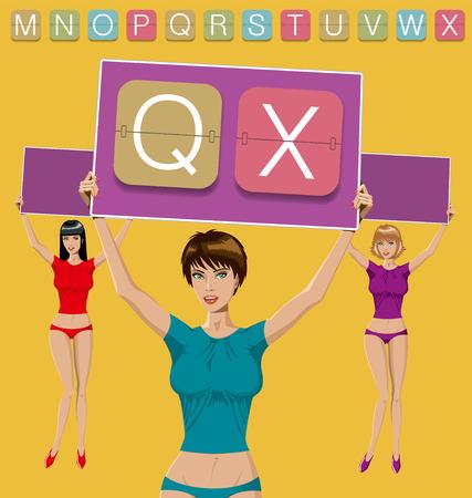 set of mechanical scoreboard alphabet QX and women