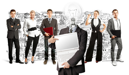 Idea concept. Lamp Head and Business team against different backgrounds Stock Photo - 30144641