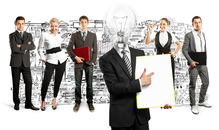 Idea concept. Lamp Head and Business team against different backgrounds Stock Photo - 30161212
