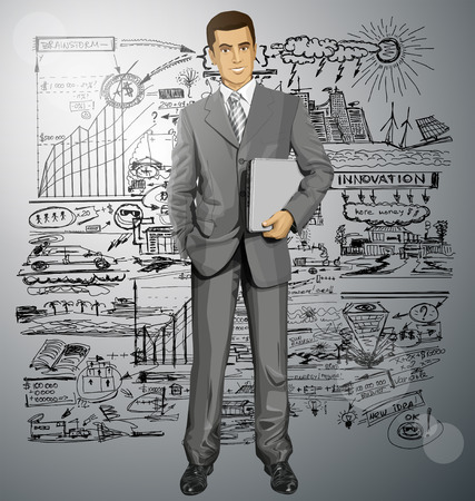 Vector business man in suit with laptop in his hands Stock Vector - 30644524