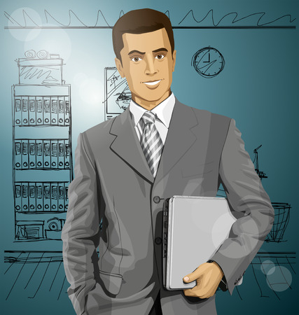 Vector business man in suit with laptop in his hands Stock Vector - 30644525