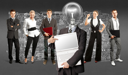 Idea concept. Lamp Head and Business team against different backgrounds Stock Photo - 30644534