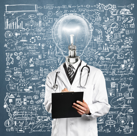 Lamp Head Doctor man with stethoscope against different backgrounds Stock Photo - 31062002