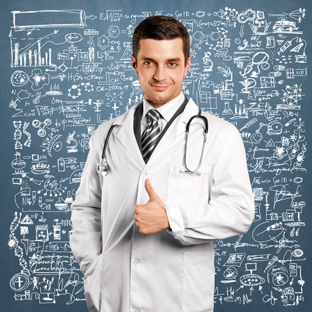 Doctor man with stethoscope shows well done Stock Photo - 31023084