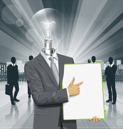 Vector lamp head businessman holding empty write board in his hands Vector