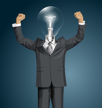 happy lamp head businessman with hands up, celebrating his victory Vector