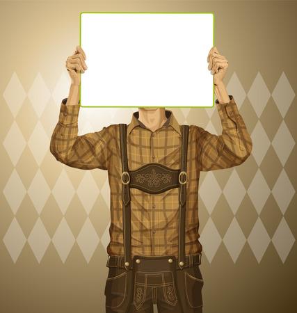 lederhosen: Idea concept. Man with write board in lederhosen on oktoberfest Illustration