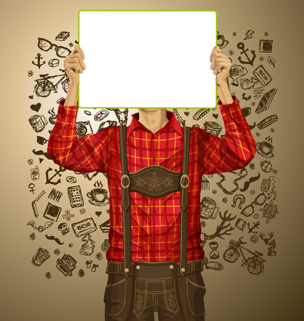 Idea concept. Man with write board in lederhosen on oktoberfest Vector