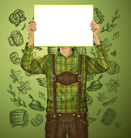 lederhosen: Idea concept. Man with write board in lederhosen on oktoberfest Illustration