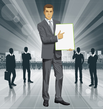 businessman holding empty write board in his hands Vector