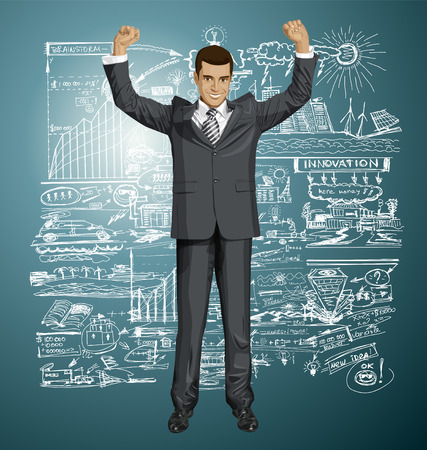 hooray: happy businessman with hands up, celebrating his victory Illustration