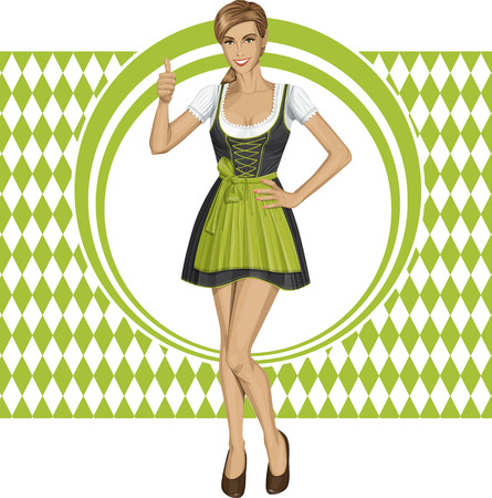 cute woman in drindl on oktoberfest shows well done Vector