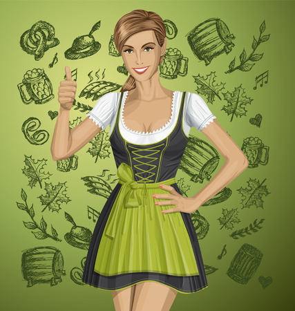 irish woman: cute woman in drindl on oktoberfest shows well done Illustration