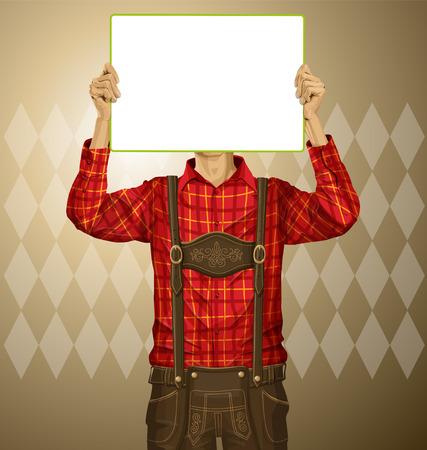 lederhosen: Idea concept. Vector Man with write board in lederhosen on oktoberfest