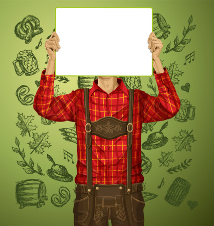 Idea concept. Vector Man with write board in lederhosen on oktoberfest Vector