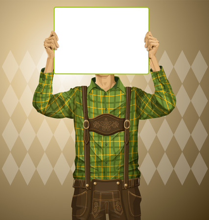 lederhosen: Idea concept. Vector Man with write board in lederhosen on oktoberfest