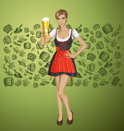 Vector cute woman in drindl on oktoberfest with beer Vector