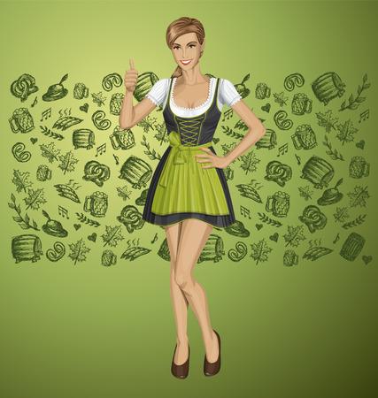 wiesn: Vector cute woman in drindl on oktoberfest shows well done