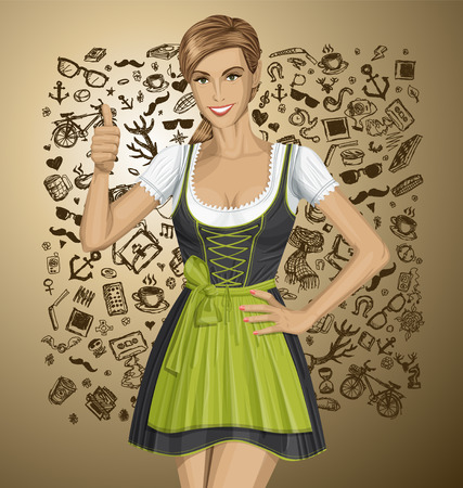 Vector cute woman in drindl on oktoberfest shows well done Vector
