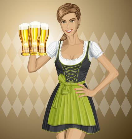 irish woman: Vector cute woman in drindl on oktoberfest with beer Illustration