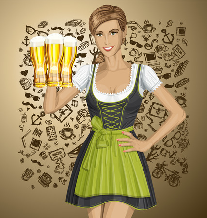 Vector cute woman in drindl on oktoberfest with beer Illustration