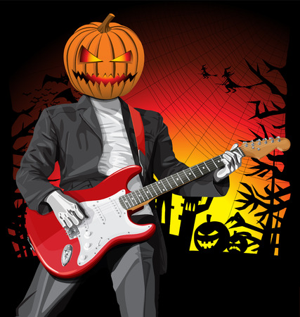 Vector Halloween scary punk man with the guitar Vector